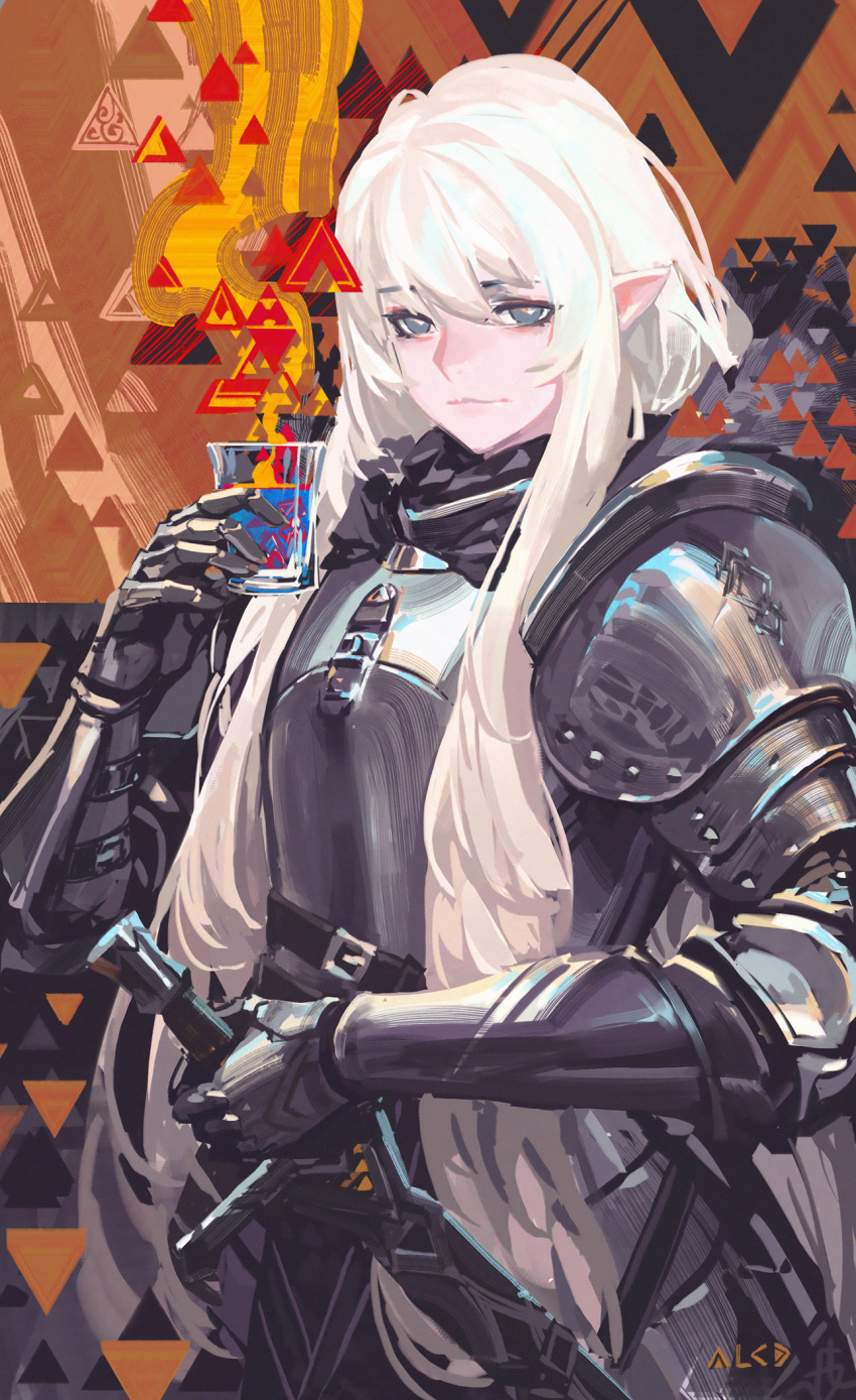 1girl :| abstract_background alcd alcohol armor artist_name bangs belt_buckle breastplate buckle closed_mouth cowboy_shot cup drink drinking eyebrows fantasy faulds gauntlets grey_eyes hair_between_eyes highres holding holding_cup holding_sword holding_weapon long_hair looking_at_viewer pauldrons pixiv_fantasia pixiv_fantasia_last_saga pointy_ears scabbard sheath sheathed sidelocks solo standing strap sword vambraces very_long_hair weapon white_hair