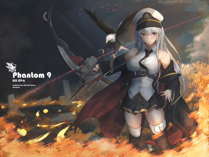 1girl absurdres azur_lane bald_eagle belt bird black_belt black_coat black_neckwear bow_(weapon) coat collared_shirt commentary_request eagle enterprise_(azur_lane) hat highres huge_filesize military military_hat necktie night night_sky open_clothes open_coat peaked_cap shirt silver_hair sky sleeveless sleeveless_shirt star_(sky) starry_sky underbust violet_eyes weapon white_headwear yusha_(m-gata)