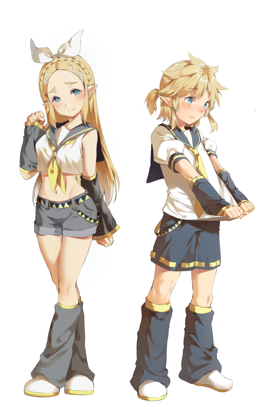 1boy 1girl alternate_costume blonde_hair blue_eyes blush boots crypton_future_media elf hairband hylian kagamine_len kagamine_len_(cosplay) kagamine_rin kagamine_rin_(cosplay) link long_hair looking_at_viewer navel necktie nintendo nintendo_ead pointy_ears princess_zelda sega short_hair simple_background super_smash_bros. the_legend_of_zelda the_legend_of_zelda:_breath_of_the_wild tutu_(23333hhh) vocaloid yamaha_(company) zelda_no_densetsu