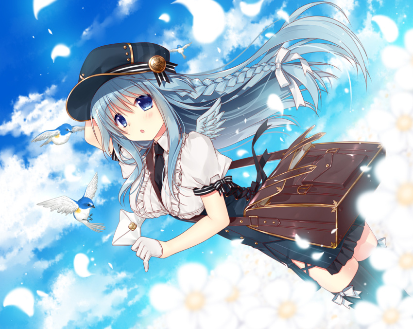 1girl bag bird black_legwear blue_eyes blue_hair blush braid breasts clouds cloudy_sky commentary_request eyebrows_visible_through_hair floating_hair gloves hair_between_eyes hand_on_own_head hat holding_envelope long_hair looking_at_viewer looking_to_the_side medium_breasts mini_wings necktie open_mouth original peaked_cap ryuuga_shou short_sleeves shoulder_bag sidelocks sky solo thigh-highs zettai_ryouiki