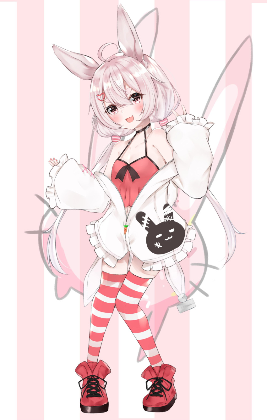1girl absurdres ahoge animal_ears arm_up blush camisole choker full_body hair_ornament hairclip highres jacket long_hair low_twintails navel nemun_(tamizzz) no_pants off_shoulder open_mouth pink_background pink_eyes pink_hair rabbit_ears red_camisole red_footwear red_legwear shoes simple_background sleeves_past_wrists smile solo striped striped_background striped_legwear thigh-highs tomari_mari tomari_mari_channel twintails v virtual_youtuber white_jacket
