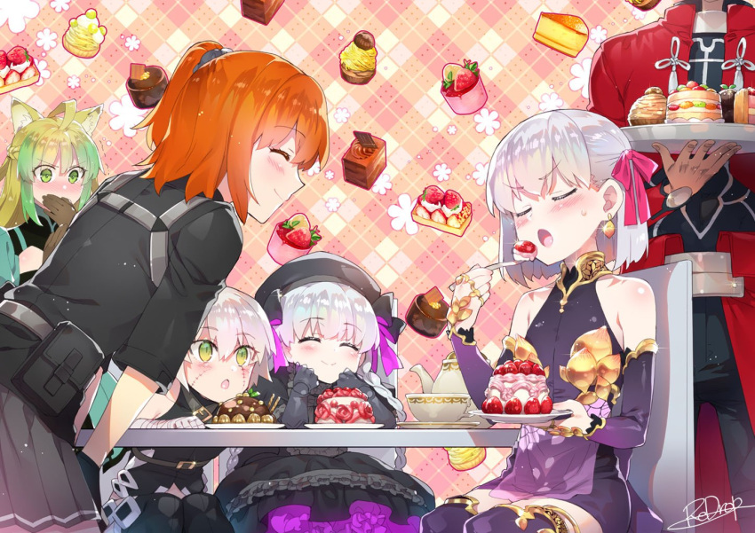 1boy 5girls ahoge animal_ears archer atalanta_(fate) bandages bangs bare_shoulders black_bow black_dress black_headwear blush bow braid breasts cake cat_ears chair closed_eyes closed_mouth dark_skin dark_skinned_male detached_sleeves dress earrings eating facial_scar fate/apocrypha fate/extra fate/grand_order fate/stay_night fate_(series) food french_braid fujimaru_ritsuka_(female) gothic_lolita gradient_hair green_eyes green_hair hair_between_eyes hair_ornament hair_ribbon hair_scrunchie jack_the_ripper_(fate/apocrypha) jewelry kama_(fate/grand_order) lolita_fashion long_hair multicolored_hair multiple_girls nursery_rhyme_(fate/extra) one_side_up open_mouth orange_hair pink_ribbon plate purple_dress purple_sleeves redrop ribbon scar scar_across_eye scar_on_cheek scrunchie short_hair side_ponytail silver_hair sitting sleeveless sleeveless_dress smile table tray twin_braids two-tone_hair