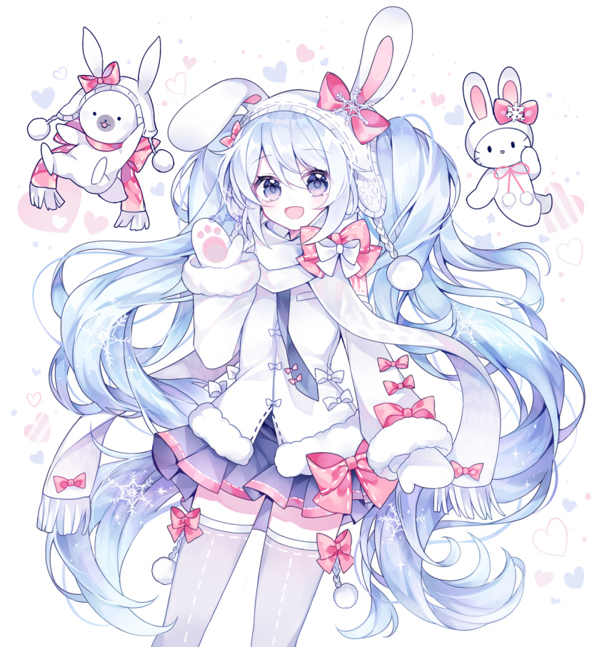 1girl :d animal_ears animal_hat bangs beanie blue_eyes blue_hair blue_skirt blush bow bunny_hat commentary earmuffs eyebrows_visible_through_hair fake_animal_ears fringe_trim fur-trimmed_jacket fur-trimmed_sleeves fur_trim g_ieep grey_legwear hair_between_eyes hand_up hat hat_bow hatsune_miku heart heart_background highres jacket long_hair long_sleeves looking_at_viewer mittens open_mouth pleated_skirt rabbit_ears red_bow red_scarf scarf sidelocks simple_background skirt sleeves_past_wrists smile snowflakes thigh-highs very_long_hair vocaloid white_background white_headwear white_jacket white_mittens white_scarf yuki_miku yukine_(vocaloid)
