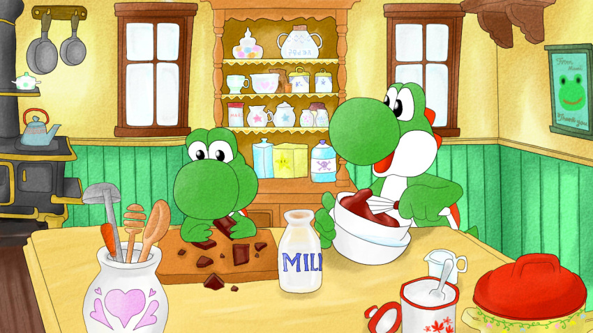 2others bottle bowl chocolate cooking cup dinosaur eating father_and_son frying_pan kitchen mario_(series) marnyanta milk nintendo nintendo_ead no_humans spoon tagme teapot yoshi yoshi's_island yoshi's_story