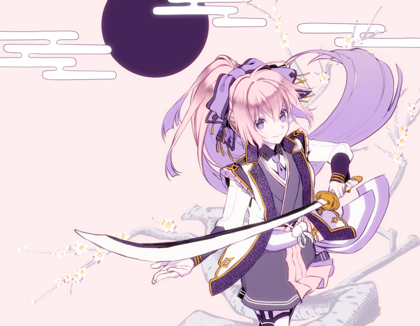 1girl aoi_sakurako bangs bow brown_background closed_mouth collared_shirt commentary_request egasumi eyebrows_visible_through_hair floating_hair flower full_moon gloves grey_kimono hair_between_eyes hair_bow high_ponytail highres holding holding_sword holding_weapon jacket japanese_clothes katana kimono long_hair long_sleeves moon multicolored_hair open_clothes open_jacket original pantyhose pink_hair ponytail purple_bow purple_hair shirt sidelocks smile solo sword tree_branch two-tone_hair very_long_hair violet_eyes weapon white_flower white_gloves white_jacket white_legwear white_shirt