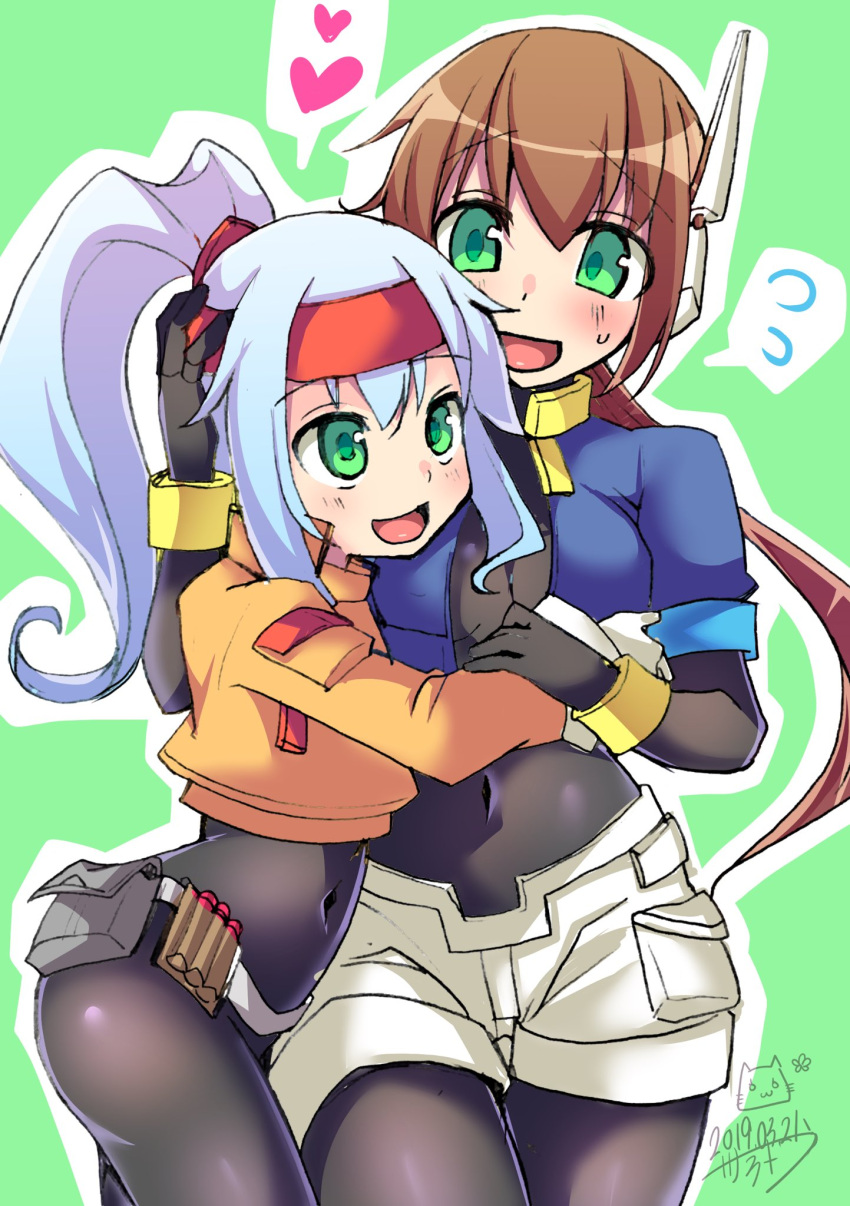 2girls aile arm_around_back arms_around_waist ashe_(rockman) bangs belt blue_hair blush bodysuit breasts brown_hair cropped_jacket green_background green_eyes hair_between_eyes hand_on_another's_head headband heart high_ponytail highres hug long_hair multiple_girls navel open_mouth ponytail robot_ears rockman rockman_zx rockman_zx_advent sano_akira shorts simple_background smile spoken_heart white_shorts yuri