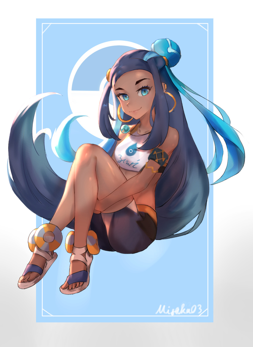 1girl absurdres armpits arms_behind_head arms_up black_hair blue_hair closed_mouth dark_skin floating_hair green_eyes highlights highres jewelry long_hair looking_at_viewer misaka_03 multicolored_hair navel necklace pokemon pokemon_(game) pokemon_swsh rurina_(pokemon) solo sports_bikini two-tone_hair upper_body very_long_hair
