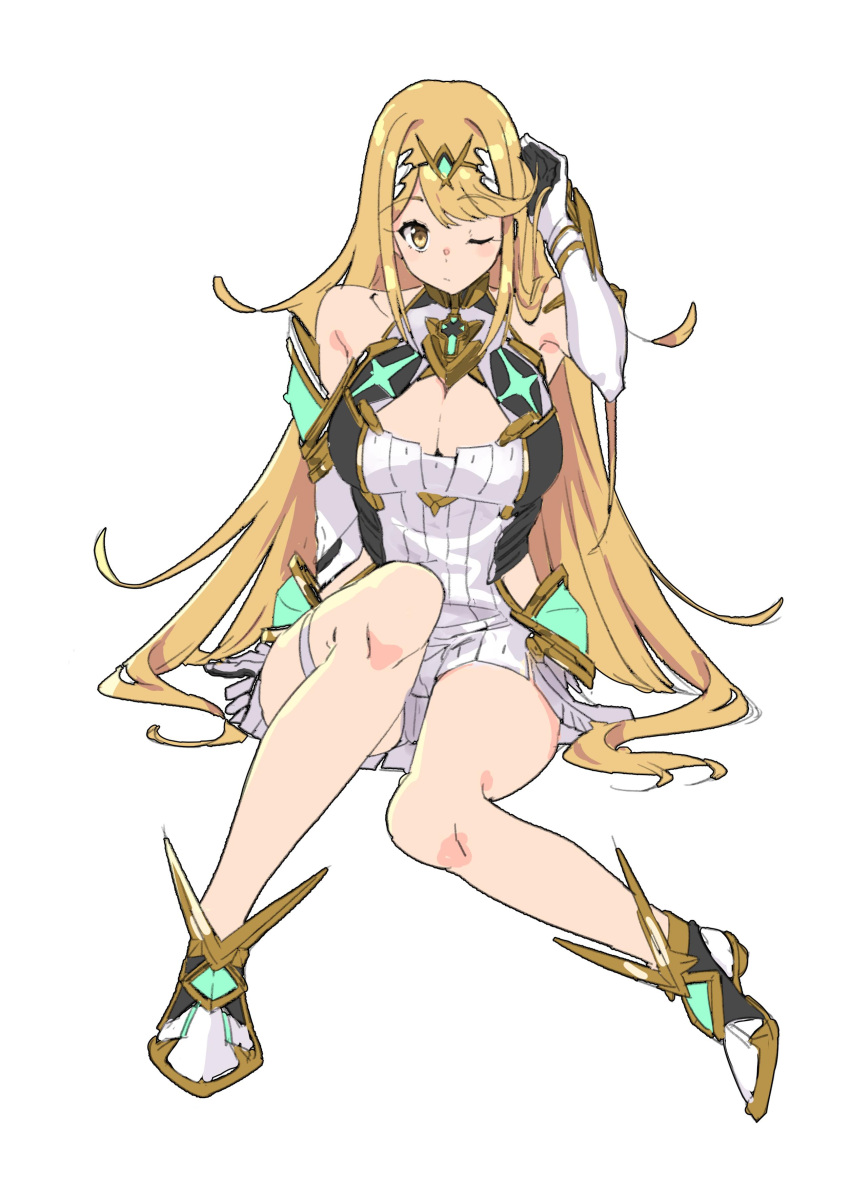 4410_(kanimiso) absurdres bare_shoulders blonde_hair breasts cleavage_cutout elbow_gloves gloves highres hikari_(xenoblade_2) large_breasts long_hair one_eye_closed sitting thigh_strap white_background xenoblade_(series) xenoblade_2 yellow_eyes