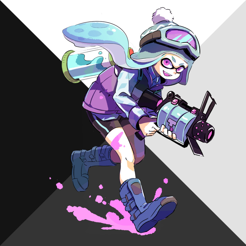 .52_gal_(splatoon) 1girl absurdres aqua_hair bike_shorts black_shorts blue_footwear blue_shirt bobblehat boots collared_shirt commentary domino_mask fang full_body goggles goggles_on_headwear green_headwear highres holding holding_weapon ink_tank_(splatoon) inkling jacket leaning_forward long_sleeves looking_at_viewer mask meco open_mouth paint_splatter purple_jacket purple_tongue running shirt shorts single_vertical_stripe sleeveless_jacket smile solo splatoon_(series) splatoon_1 standing tentacle_hair violet_eyes weapon