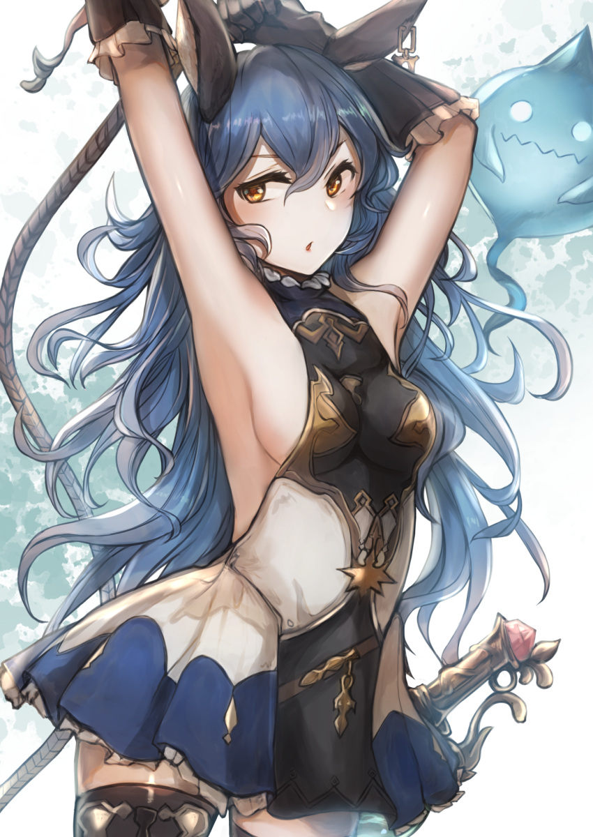 1girl animal_ears armpits arms_up black_legwear blue_hair blue_skirt breasts brown_gloves cowboy_shot curly_hair elbow_gloves ferry_(granblue_fantasy) floating_hair frilled_gloves frills gloves granblue_fantasy hair_between_eyes highres long_hair looking_at_viewer medium_breasts miniskirt open_mouth pleated_skirt sheath sheathed shiny shiny_hair sideboob skirt solo standing sword thigh-highs tsyn two-tone_skirt very_long_hair weapon white_background white_skirt yellow_eyes zettai_ryouiki