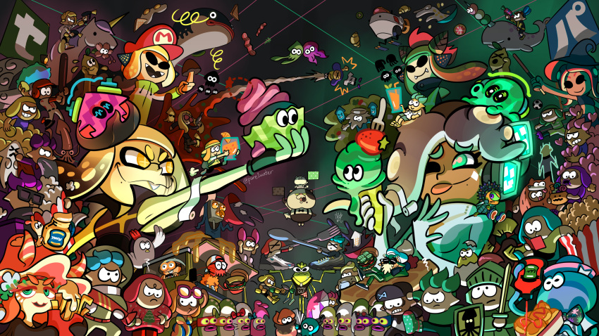 armor bird bukichi_(splatoon) chibi chicken commander_atarime conductor_namako cupcake dango denchinamazu ebii_(splatoon) everyone food fork hat highres hime_(splatoon) ice_cream iida_(splatoon) inkling jellyfish_(splatoon) miura_(splatoon) mole mole_under_mouth narwhal nintendo octarian octoling octopus pointy_ears pure1water riding rob_(splatoon) shield shiganii_(splatoon) splatoon_(series) splatoon_2 spoon squid sweater sword tentacle_hair unicorn wagashi weapon witch witch_hat