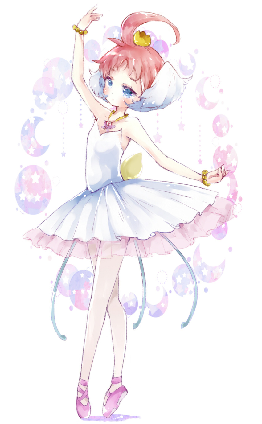 1girl arm_up ballerina bangs bare_shoulders bead_bracelet beads blue_eyes blush bracelet brown_hair closed_mouth commentary_request crescent dress full_body hair_ornament highres jewelry pink_footwear princess_tutu princess_tutu_(character) see-through shoes solo star strapless strapless_dress tiptoes tsukiyo_(skymint) tutu white_background white_dress