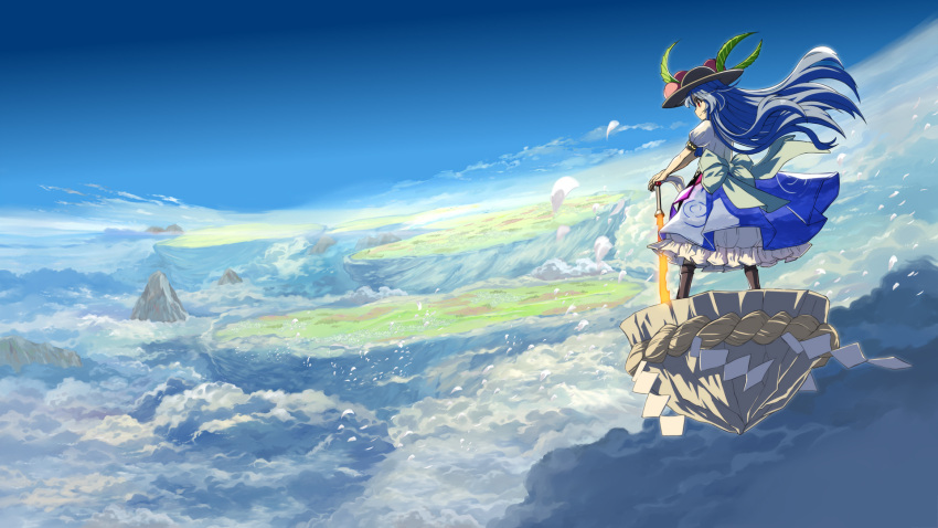 1girl above_clouds bangs black_headwear blue_hair blue_skirt blue_sky boots bow brown_footwear clouds commentary_request day floating_hair floating_island food from_behind fruit grey_bow highres hinanawi_tenshi keystone leaf long_hair mountain outdoors peach petals petticoat planted_sword planted_weapon puffy_short_sleeves puffy_sleeves red_eyes rock rope scenery shide shimenawa shirt shope short_sleeves skirt sky solo standing sword sword_of_hisou touhou very_long_hair weapon white_shirt