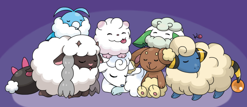 alola_form alolan_vulpix buneary cottonee gen_2_pokemon gen_3_pokemon gen_4_pokemon gen_5_pokemon gen_6_pokemon gen_8_pokemon kite_(artist) mareep no_humans pokemon pokemon_(creature) pokemon_(game) purple_background pyukumuku sleeping swablu swirlix tongue tongue_out wooloo