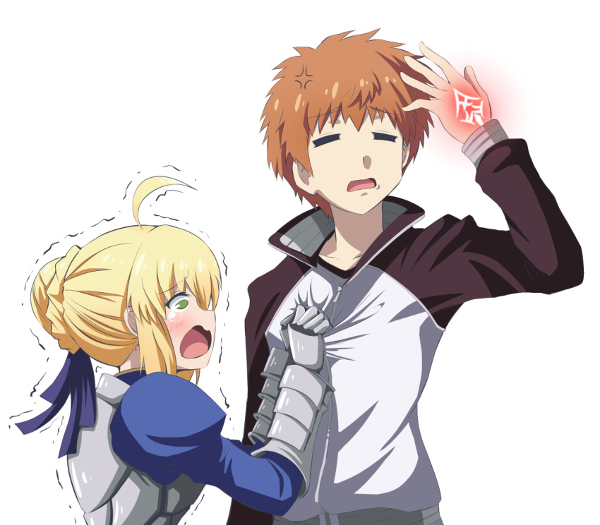1boy 1girl ahoge armor armored_dress artoria_pendragon_(all) blonde_hair braid breasts closed_eyes command_spell eyebrows_visible_through_hair fate/grand_order fate/stay_night fate_(series) french_braid fujitaka_nasu gauntlets green_eyes highres open_mouth orange_hair saber simple_background tearing_up weapon white_background