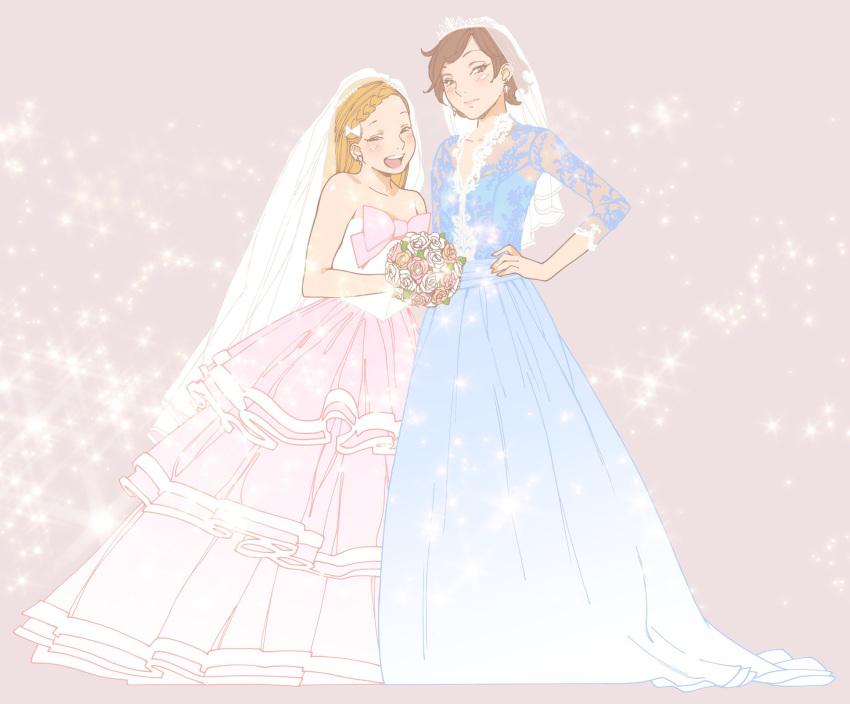 2girls blonde_hair blush bouquet braid brown_hair dress earrings flower happy height_difference highres jewelry kamizono_chie kishi_torajirou multiple_girls official_art okayama_ai otome_no_teikoku wedding_dress wife_and_wife yuri