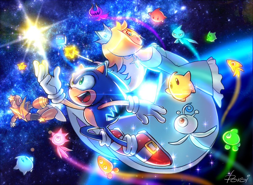1girl 2boys blonde_hair capcom chiko_(mario) commentary commentary_request crown dress earrings gloves green_eyes jewelry mario_(series) multiple_boys nintendo nintendo_ead poroi_(poro586) red_footwear rockman rosalina sega signature sonic sonic_the_hedgehog sora_(company) space star starman_(rockman) super_smash_bros. super_smash_bros._ultimate wand wisp_(sonic)