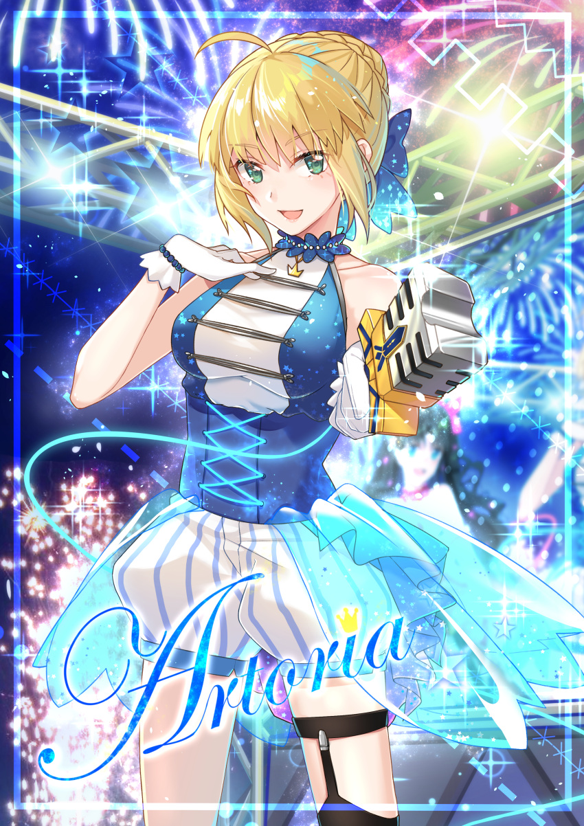 1girl :d absurdres ahoge alternate_costume artoria_pendragon_(all) bangs black_legwear blonde_hair blue_bow bow bracelet braid breasts bustier character_name choker collarbone crown_braid excalibur eyebrows_visible_through_hair fate/stay_night fate_(series) fireworks garter_straps gloves green_eyes hair_bow hair_bun highres holding holding_microphone huge_filesize idol jewelry kotatsu_kaya looking_at_viewer medium_breasts microphone open_mouth overskirt saber see-through short_hair short_shorts shorts sleeveless smile solo stage standing striped thigh-highs thigh_strap tied_hair vertical-striped_shorts vertical_stripes white_gloves white_shorts