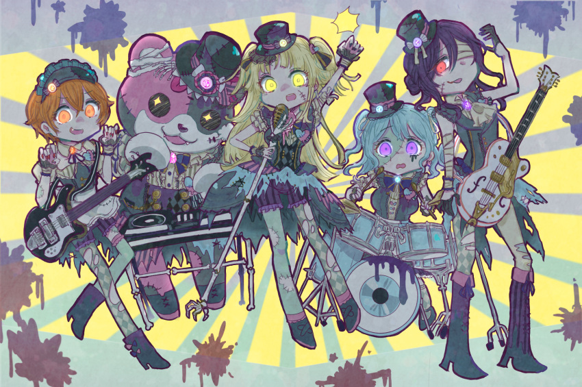 +_+ 5girls :3 :p animal_costume ascot bandaged_arm bandaged_ear bandaged_head bandages bang_dream! bangs bass_guitar bear_costume black_gloves black_headwear black_nails blonde_hair blood blood_splatter blue_hair blue_neckwear bone boots bow bowtie claw_pose commentary_request dj drum drum_set drumsticks electric_guitar fang fangs gloves guitar hair_between_eyes hair_bun half_gloves hat hat_ribbon hello_happy_world! highres holding_microphone_stand instrument kitazawa_hagumi long_hair mascot_costume matsubara_kanon michelle_(bang_dream!) microphone_stand multiple_girls nurse_cap orange_eyes orange_hair patchwork_skin phonograph pine_(pineapple5459) purple_hair raised_fist red_eyes red_nails ribbon seta_kaoru short_hair shorts standing stitches striped sunburst sunburst_background thigh-highs tongue tongue_out top_hat torn_clothes torn_legwear tsurumaki_kokoro turntable two_side_up vertical-striped_shorts vertical_stripes violet_eyes yellow_eyes zombie