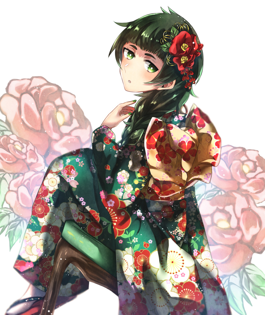 1girl bangs blunt_bangs braid floral_print flower getsuyoubi green_eyes green_hair green_kimono green_nails hair_flower hair_ornament hair_over_shoulder highres hiyajou_maho japanese_clothes kimono long_hair nail_polish parted_lips print_kimono red_flower shiny shiny_hair single_braid sitting solo steins;gate steins;gate_0 white_background white_legwear yukata