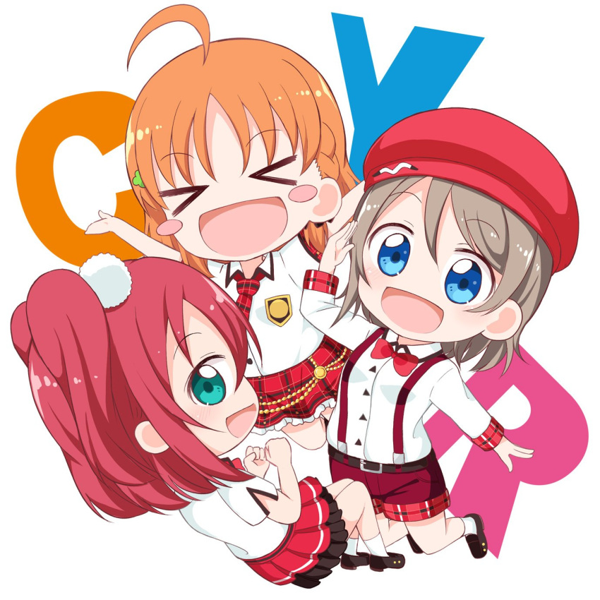 >_< 3girls :d \o/ ahoge aqua_eyes arms_up ascii_media_works bangs belt beret black_footwear blue_eyes blush blush_stickers bow bowtie braid bushiroad clenched_hands collared_shirt commentary_request cute cyaron_(love_live!) genki_zenkai_day!_day!_day! grey_hair hat highres kurosawa_ruby long_sleeves love_live! love_live!_sunshine!! miyamaki moe multiple_girls necktie open_mouth orange_hair outstretched_arms plaid plaid_skirt pom_pom_(clothes) red_headwear red_neckwear red_shorts red_skirt redhead salute shirt shoes short_hair short_sleeves shorts side_braid skirt smile socks sunrise_(studio) suspenders takami_chika two_side_up watanabe_you white_background white_legwear white_shirt xd