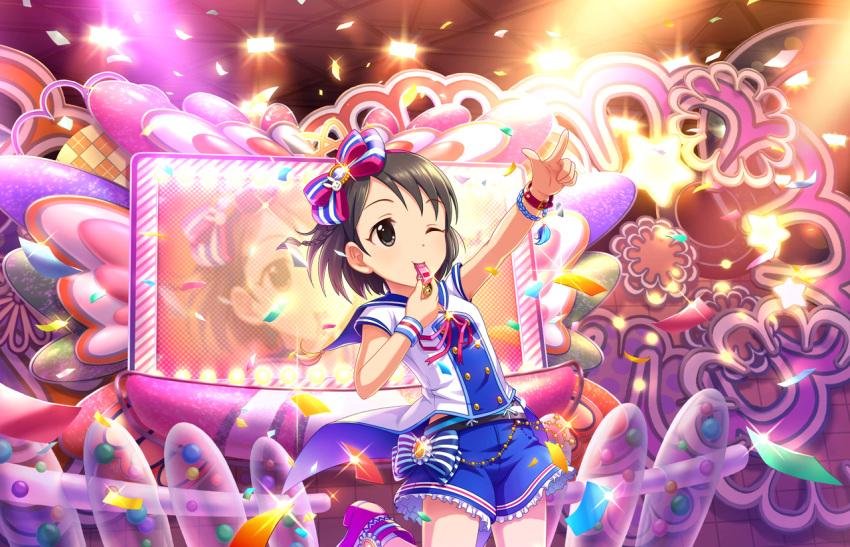black_eyes blush brown_hair dress idolmaster_cinderella_girls_starlight_stage sasaki_chie short_hair wink