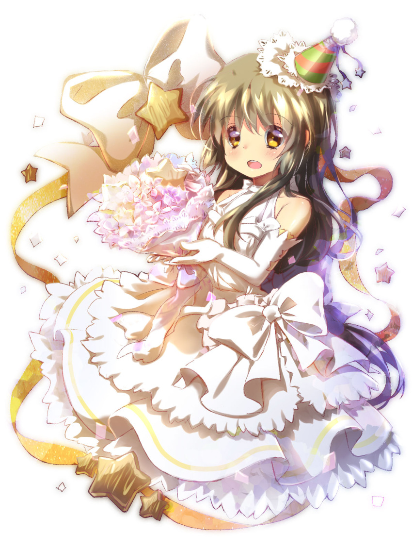 1girl alternate_costume bouquet bow brown_eyes brown_hair chinese_commentary clannad commentary_request dress elbow_gloves flower frilled_dress frilled_hat frills full_body gloves hat highres ibuki_fuuko lliissaawwuu2 long_hair low-tied_long_hair open_mouth party_hat ribbon round_teeth simple_background sleeveless sleeveless_dress solo starfish teeth upper_teeth white_background white_bow white_gloves yellow_ribbon