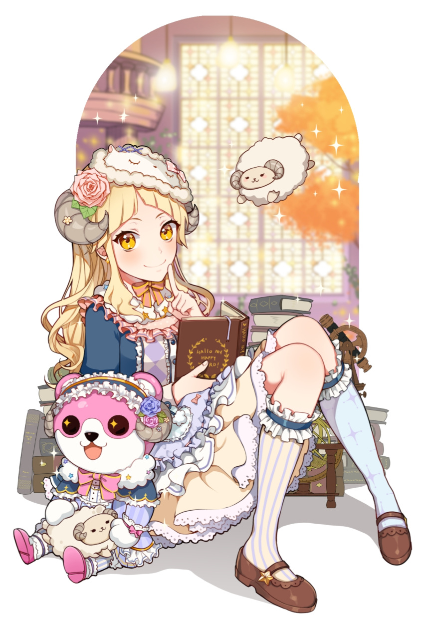 +_+ 1girl :3 :d bang_dream! bangs bari_dal blonde_hair blue_flower blue_legwear blue_rose blush book book_stack bow bowtie brown_footwear capelet center_frills dress earrings english_commentary flower frills garters hair_flower hair_ornament hairband highres holding holding_book horn_flower horns index_finger_raised jewelry knees_together_feet_apart light_bulb lolita_hairband long_hair mary_janes mask mask_on_head michelle_(bang_dream!) mismatched_legwear open_mouth pink_flower pink_neckwear pink_rose print_legwear rose sheep_horns shoes sidelocks sitting sleep_mask smile solo sparkle striped striped_legwear stuffed_animal stuffed_sheep stuffed_toy teddy_bear telescope tsurumaki_kokoro vertical-striped_legwear vertical_stripes window yellow_eyes