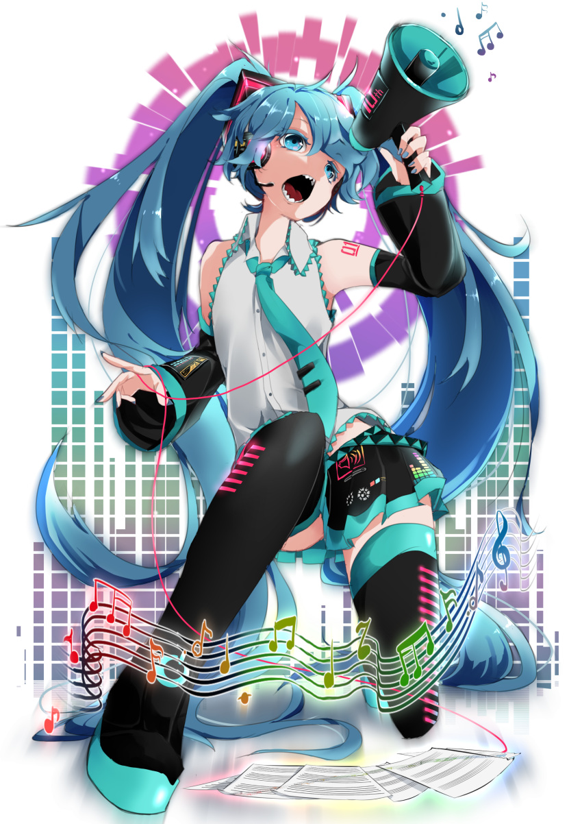 1girl absurdres aqua_neckwear bare_shoulders beamed_eighth_notes beamed_sixteenth_notes black_legwear black_skirt blue_eyes blue_hair cable commentary detached_sleeves eighth_note fangs graphic_equalizer grey_shirt hair_ornament hatsune_miku headphones headset highres holding_megaphone long_hair looking_at_viewer megaphone musical_note nail_polish necktie one_knee open_mouth paper quarter_note sheet_music shirt shoulder_tattoo sixteenth_note skirt sleeveless sleeveless_shirt solo staff_(music) tattoo thigh-highs treble_clef twintails very_long_hair vocaloid wanaxtuco zettai_ryouiki