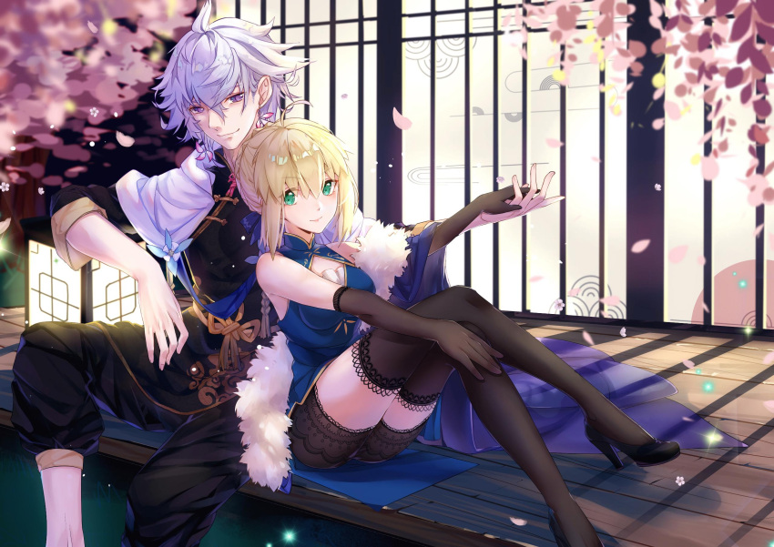 1boy 1girl ahoge alternate_costume artoria_pendragon_(all) black_footwear black_gloves black_legwear black_pants black_shorts blonde_hair blurry_foreground braided_bun cherry_blossoms chinese_clothes closed_mouth crossed_legs elbow_gloves fate/grand_order fate_(series) gloves green_eyes hair_between_eyes high_heels highres holding_hands kotatsu_kaya looking_at_viewer merlin_(fate) outdoors pants pumps saber shiny shiny_hair short_hair short_shorts shorts silver_hair sitting smile thigh-highs