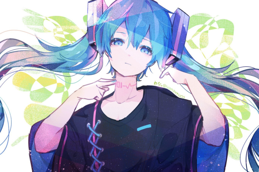 1girl black_shirt blue_eyes blue_hair commentary cross-laced_clothes expressionless hair_ornament hand_on_own_neck hands_up hatsune_miku head_tilt long_hair looking_at_viewer nail_polish neck_tattoo shirt solo tattoo twintails upper_body very_long_hair vocaloid wanaxtuco wide_sleeves