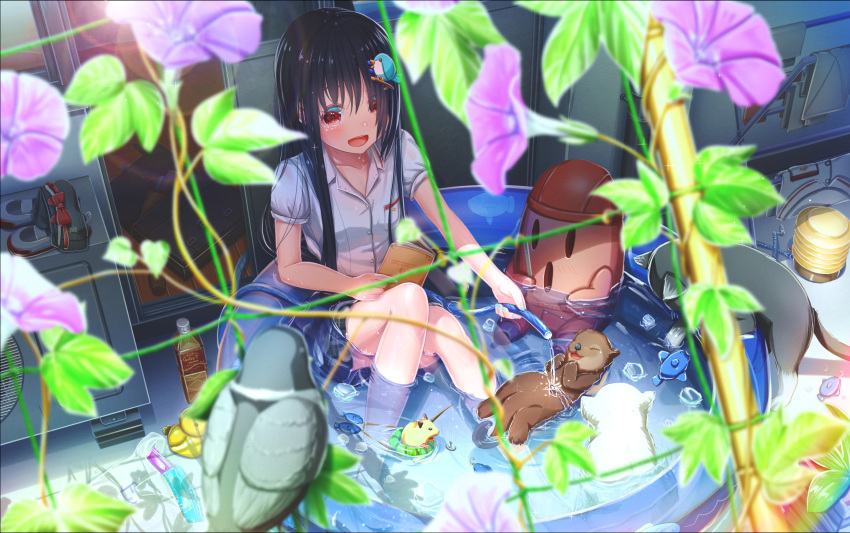 1girl abo_(kawatasyunnnosukesabu) animal bag bangs bird bird_hair_ornament black_cat black_hair book bottle breast_pocket cat day fish flower hair_ornament haniwa_(statue) highres holding holding_book hose ice ice_cube morning_glory mouse nail_polish original otter partially_submerged pigeon plant plastic_bag pocket purple_flower red_eyes rubber_duck shade shirt shirt_removed shoes shoes_removed skirt sliding_doors summer uwabaki vines wading_pool white_shirt