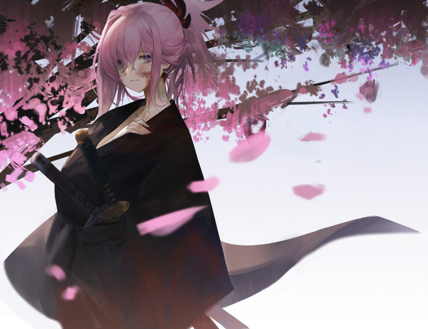 1girl absurdres asymmetrical_hair bangs black_kimono bleeding blood blood_on_face blue_eyes blurry blurry_background blurry_foreground cherry_blossoms collarbone cowboy_shot cuts depth_of_field dokshuri earrings fate/grand_order fate_(series) grey_background hair_between_eyes hair_ornament highres injury japanese_clothes jewelry jitome katana kimono looking_at_viewer miyamoto_musashi_(fate/grand_order) parted_lips pink_hair sheath sheathed short_hair sidelocks single_sidelock solo sword tree weapon wide_sleeves