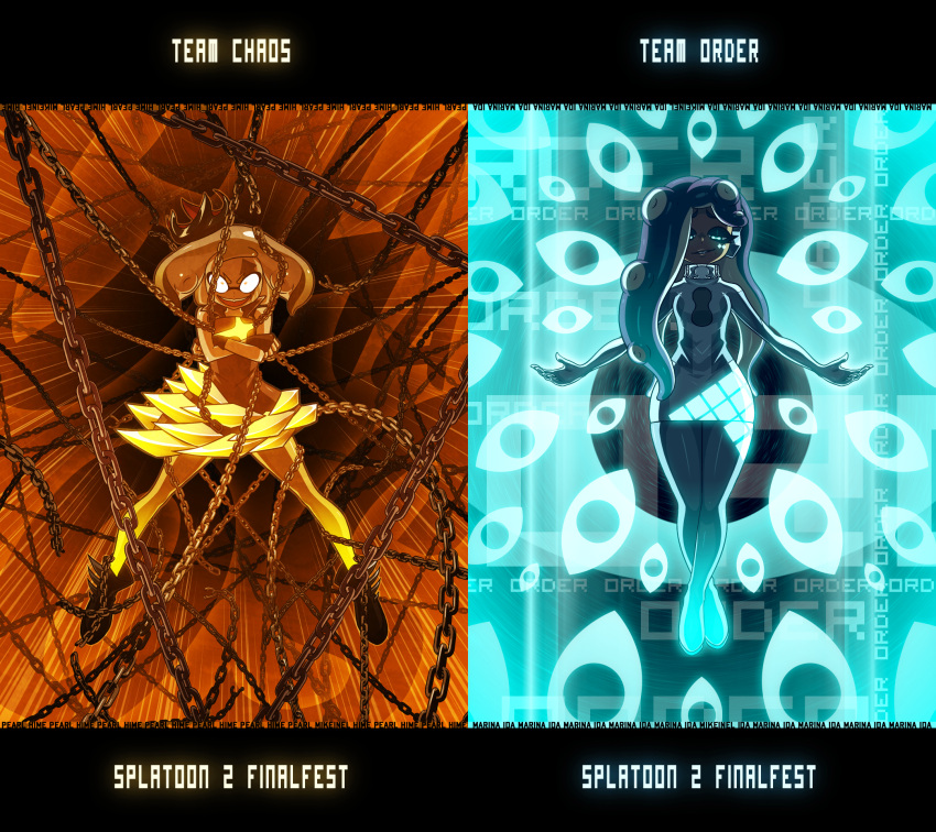 2girls chain character_name constricted_pupils copyright_name crossed_arms crown dark_skin evil_smile fingerless_gloves full_body gloves glowing glowing_eyes hair_over_one_eye highres hime_(splatoon) iida_(splatoon) legs_apart long_hair looking_at_viewer mike_inel mini_crown multiple_girls open_mouth outstretched_arms red_eyes smile splatoon_(series) splatoon_2