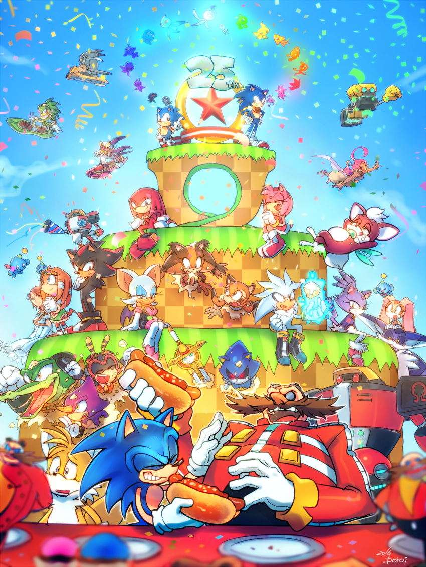 6+boys 6+girls amy_rose anniversary big_the_cat blaze_the_cat cake chao_(sonic) charmy_bee cheese_(sonic) chili_dog chip_(sonic) cream_the_rabbit cubot cupcake dr._eggman dual_persona e-102_gamma e-123_omega espio_the_chameleon everyone food highres jet_the_hawk knuckles_the_echidna laughing marine_the_raccoon metal_sonic multiple_boys multiple_girls orbot party party_popper plate poroi_(poro586) princess_elise_(sonic_the_hedgehog) rouge_the_bat shadow_the_hedgehog shahra silver_the_hedgehog sonic sonic_boom_(game) sonic_the_hedgehog sticks_the_badger storm_the_albatross table tails_(sonic) tikal_the_echidna vector_the_crocodile wave_the_swallow