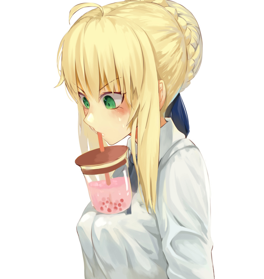 1girl absurdres ahoge artoria_pendragon_(all) blonde_hair blue_ribbon braid breasts bubble_tea_challenge commentary_request drinking drinking_straw eyebrows_visible_through_hair fate/stay_night fate_(series) from_side green_eyes hair_between_eyes highres medium_breasts ribbon saber shirt short_hair sidelocks solo torieto white_shirt