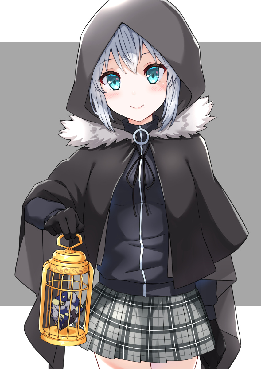1girl absurdres add_(lord_el-melloi_ii) birdcage black_cloak black_gloves blush cage cape cloak closed_mouth creature cube eyebrows_visible_through_hair fate_(series) fur-trimmed_cloak fur_trim gloves gray_(lord_el-melloi_ii) green_eyes grey_hair hair_between_eyes highres holding holding_cage hood hood_up hooded_cloak looking_at_viewer lord_el-melloi_ii_case_files miniskirt open_eyes profnote short_hair skirt smile solo
