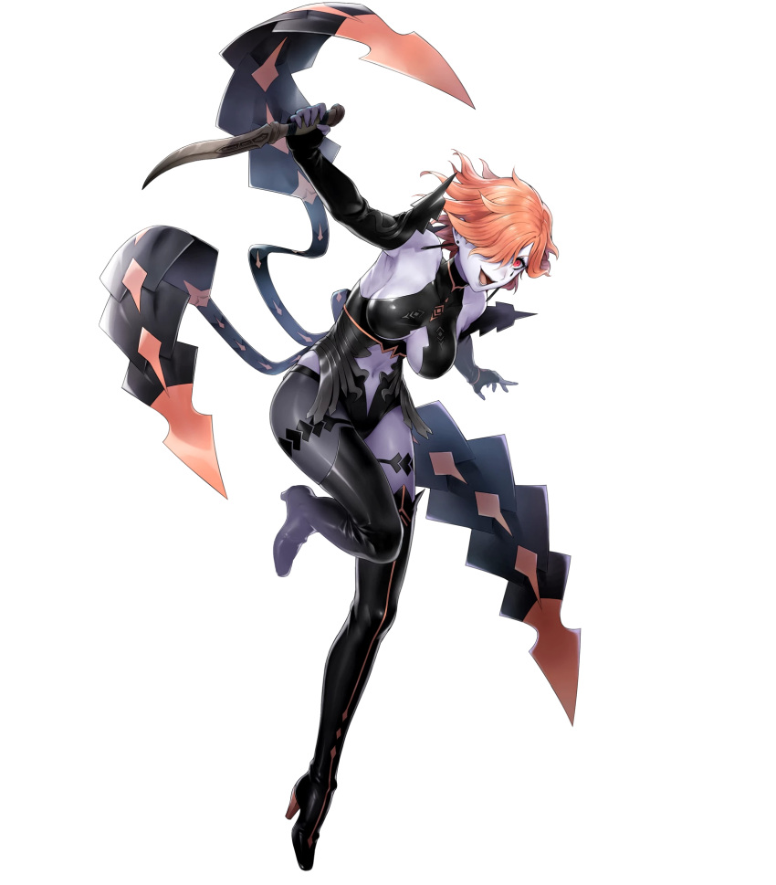 1girl bare_shoulders boots breasts center_opening dagger earrings elbow_gloves facial_mark fingerless_gloves fire_emblem fire_emblem:_three_houses fire_emblem_heroes gloves hair_over_one_eye high_heel_boots high_heels highres holding holding_weapon jewelry kronya kyuusugi_toku leg_up leotard lips official_art open_mouth orange_hair red_eyes reverse_grip shiny shiny_hair short_hair solo thigh-highs thigh_boots transparent_background weapon