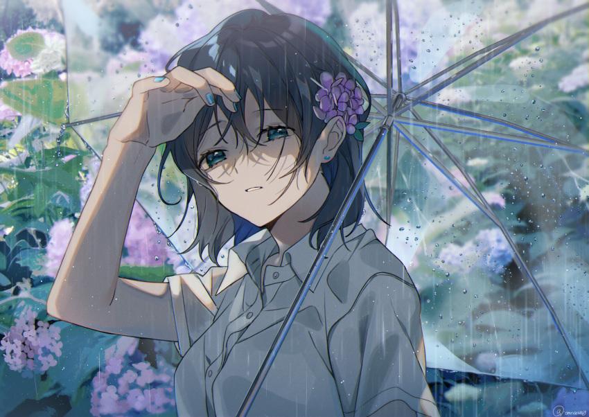 1girl black_hair blue_earrings blue_nails earrings flower green_eyes hair_flower hair_ornament hydrangea jewelry nail_polish omutatsu original outdoors rain shirt short_sleeves umbrella white_shirt