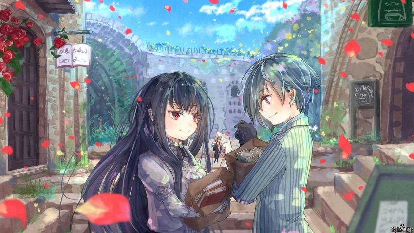 1boy 1girl arch ashgray bag black_gloves black_hair blue_sky book building clouds day door dress eye_contact flower gloves grass grey_dress grey_hair highres holding holding_bag long_hair long_sleeves looking_at_another outdoors petals psychic_hearts red_eyes shirt sky smile standing striped upper_body vertical_stripes violet_eyes wall watermark white_shirt