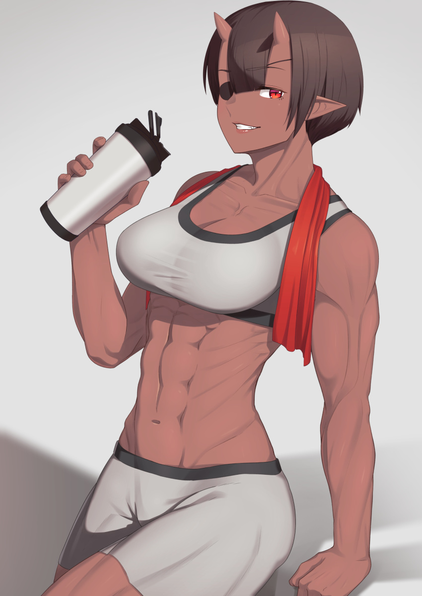 1girl abs absurdres bike_shorts bottle breasts brown_hair dark_skin eyepatch grey_background grin highres holding holding_bottle horns looking_at_viewer muscle muscular_female oni oni_horns original pointy_ears putchers red_eyes short_hair shorts simple_background smile solo sports_bra towel towel_around_neck water_bottle