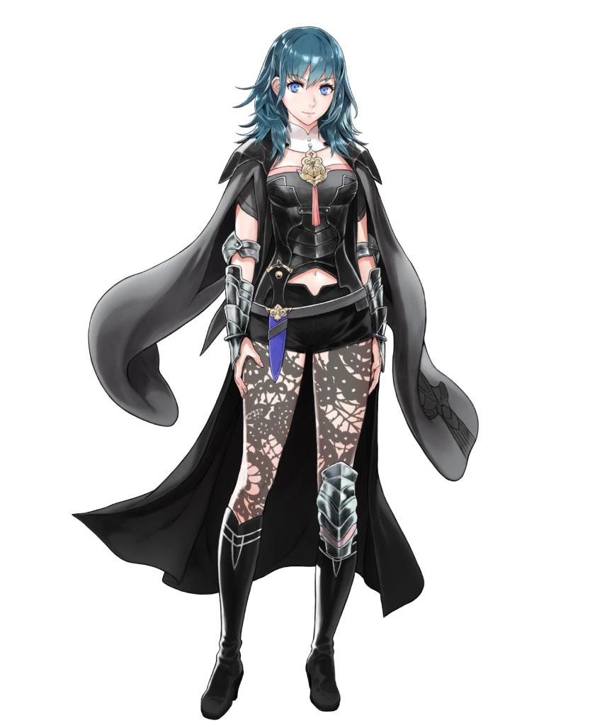 1girl armor belt black_footwear boots breasts byleth byleth_(female) coat dagger fire_emblem fire_emblem:_three_houses fire_emblem_heroes full_body highres hirooka_masaki jacket_on_shoulders knee_boots knee_pads long_hair medium_breasts midriff_peek official_art pantyhose shorts shoulder_pads solo transparent_background weapon