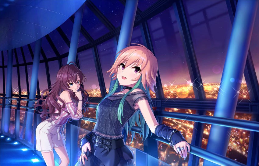 2girls :d ahoge bangs belt black_belt black_choker blue_eyes blue_nails blush bracelet brown_hair choker cityscape closed_mouth eyebrows_visible_through_hair fingernails frills green_hair hair_between_eyes ichinose_shiki idolmaster idolmaster_cinderella_girls idolmaster_cinderella_girls_starlight_stage indoors jewelry long_hair multicolored_hair multiple_girls night night_sky ninomiya_asuka official_art open_mouth ring see-through shorts sky smile spiked_bracelet spikes standing star_(sky) starry_sky two-tone_hair violet_eyes wavy_hair