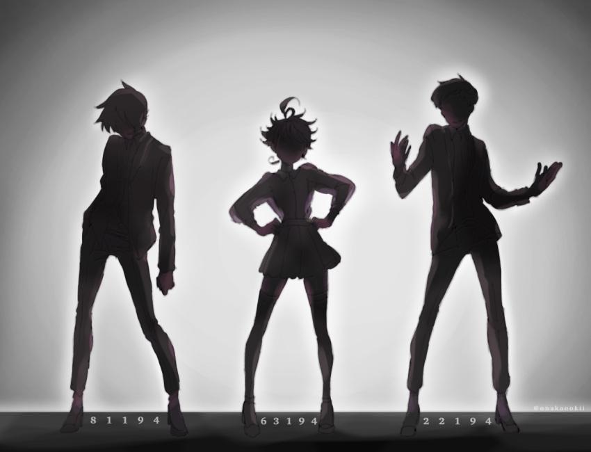 1girl 2boys ahoge backlighting contrapposto emma_(yakusoku_no_neverland) grey_background hand_on_hip miniskirt multiple_boys norman_(yakusoku_no_neverland) number onakaookii pants pleated_skirt ray_(yakusoku_no_neverland) short_hair skirt standing thigh-highs yakusoku_no_neverland zettai_ryouiki