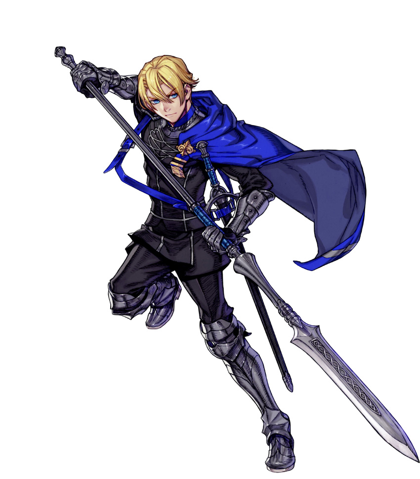 1boy armor armored_boots blonde_hair blue_eyes boots cape dimitri_alexandre_bladud_(fire_emblem) fire_emblem fire_emblem:_three_houses fire_emblem_heroes fujisaka_kimihiko full_body gauntlets gloves highres long_sleeves male_focus official_art pants polearm short_hair solo spear sword transparent_background weapon