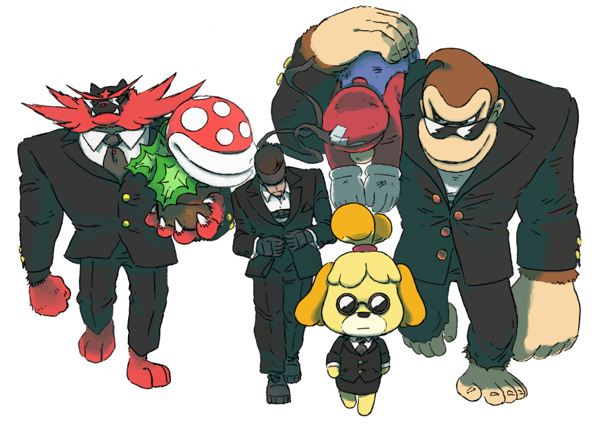 1girl 1other 4boys alternate_costume animal animal_crossing animal_crossing:_new_leaf animal_ears ape barefoot black_footwear black_jacket black_pants black_skirt blazer blonde_hair blue_overalls boots brown_hair carrying_over_shoulder closed_mouth clothed_pokemon collared_shirt combat_boots commentary creatures_(company) crossed_bandaids crossover dog dog_ears dog_girl donkey_kong donkey_kong_(series) doubutsu_no_mori dress_shirt english_commentary epic fangs fangs_out formal furry game_freak gen_7_pokemon gloves gorilla hat heel_(specie) human incineroar jacket jiojio_warudo konami large_hands long_sleeves looking_at_another mario mario_(series) metal_gear_(series) metal_gear_solid miniskirt multiple_boys multiple_crossover muscle necktie nintendo nintendo_ead olm_digital overalls pants paws pencil_skirt piranha_plant plant plumber pokemon pokemon_(creature) pokemon_sm popped_button rareware red_headwear red_shirt retro_studios shirt shizue_(doubutsu_no_mori) short_hair sideways_glance simple_background skirt skirt_suit solid_snake sora_(company) suit sunglasses super_mario_bros. super_smash_bros. super_smash_bros._ultimate super_smash_bros_brawl tiger tobidase:_doubutsu_no_mori topknot unconscious very_short_hair walking white_background white_gloves white_shirt wing_collar