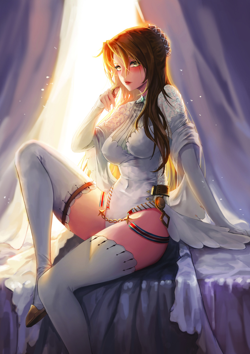 1girl absurdres alternate_costume arm_support backlighting bangs blush boots braid breasts brown_hair covered_navel dress girls_frontline gloves green_eyes hair_bun hair_ornament high_heel_boots high_heels highres kibellin knee_up large_breasts lee-enfield_(girls_frontline) leotard long_hair looking_at_viewer open_mouth playing_with_own_hair shawl sitting solo star thigh-highs thigh_boots wedding_dress white_footwear white_leotard