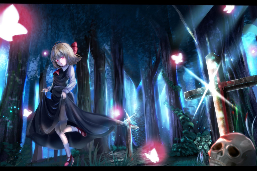 1girl :d black_skirt black_vest blonde_hair blood bug butterfly cross forest full_body glint graveyard hair_ribbon highres insect iori_(htukiyahirou) long_sleeves mary_janes nature open_mouth red_footwear ribbon rumia shirt shoes short_hair skirt skull smile touhou tree vest white_shirt