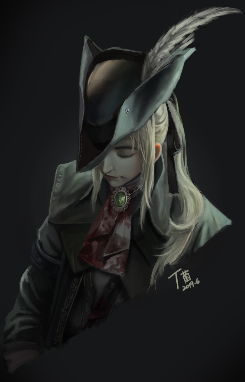 1girl absurdres ascot blonde_hair blood bloodborne blue_eyes gloves hat hat_feather highres lady_maria_of_the_astral_clocktower long_hair looking_at_viewer ponytail simple_background solo the_old_hunters tricorne ttt_(5274293) white_hair