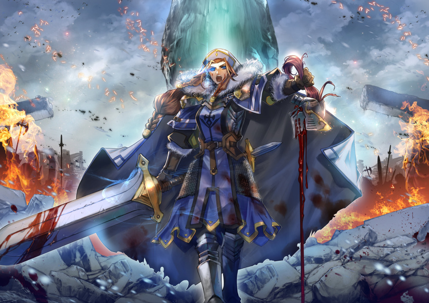 1girl :o armor blood bloody_weapon blue_cape blue_eyes boots brown_gloves brown_hair cape clouds decapitation fire full_body fur_trim glint gloves grey_sky hat helmet looking_at_viewer outdoors pixiv_fantasia pixiv_fantasia_last_saga planted_weapon polearm rubble shouting sidelocks solo spear standing sword takayama_dan vasilier_(pixiv_fantasia_last_saga) weapon